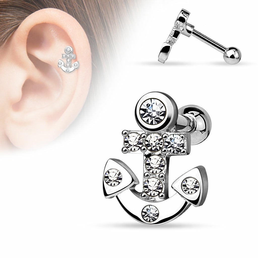 Tragus Barbell CZ Paved Anchor 316L Surgical Steel Cartilage Bar 16g