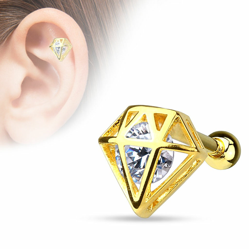 Tragus Barbell CZ Incased Diamond 14Kt. Gold Plated over 316L Surgical Steel Cartilage Bar 16g
