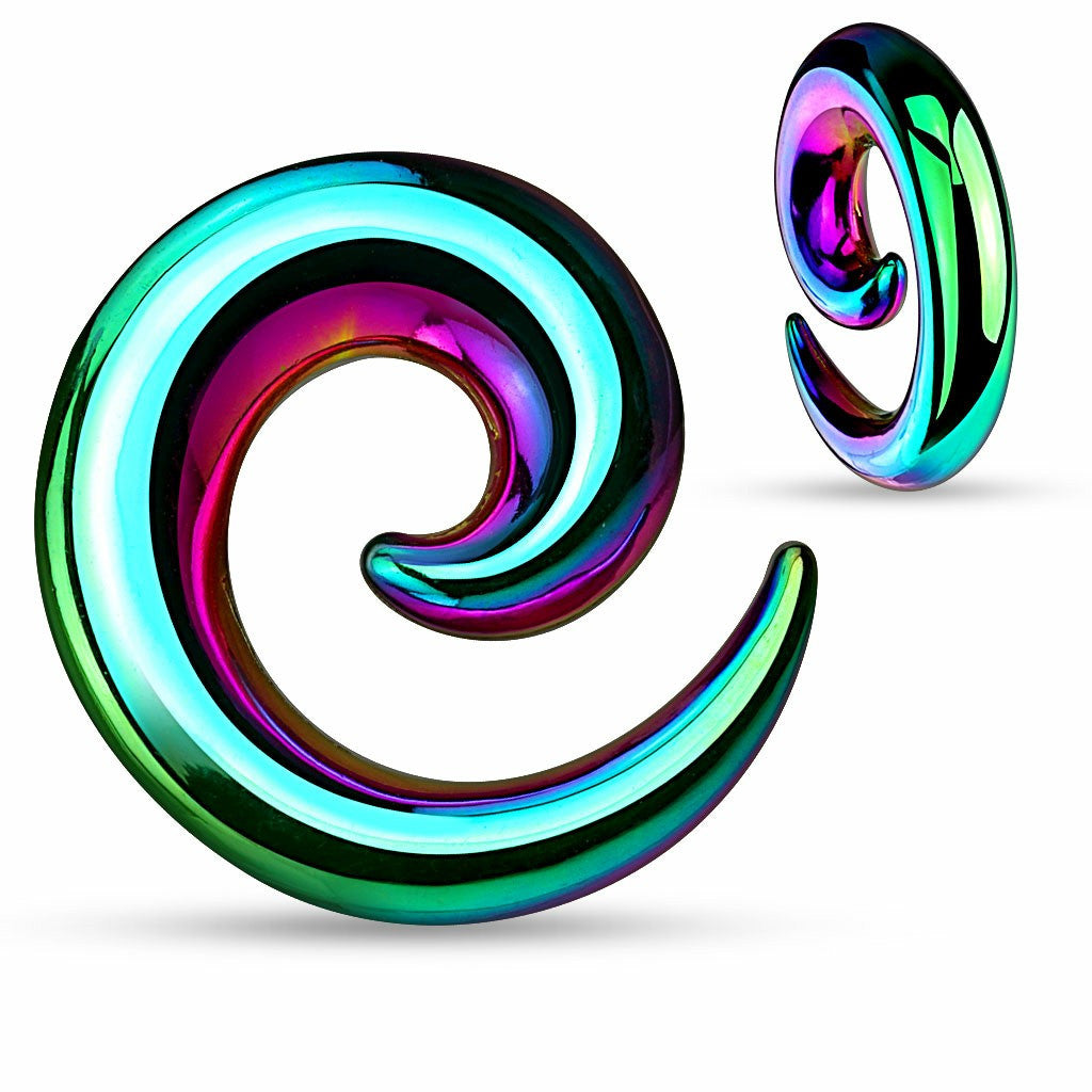 Earrings Rings 316L Surgical Steel Swirl Twist Tapers - Sold as a pair 0G Rainbow