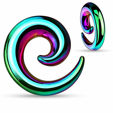 Earrings Rings 316L Surgical Steel Swirl Twist Tapers - Sold as a pair 00G Rainbow