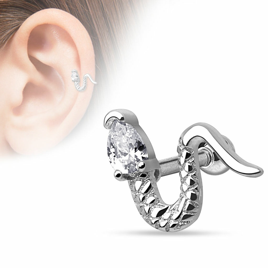 Tragus Bar Snake with Triangle CZ Head 316L Surgical Steel Cartilage/Tragus Barbell 16g