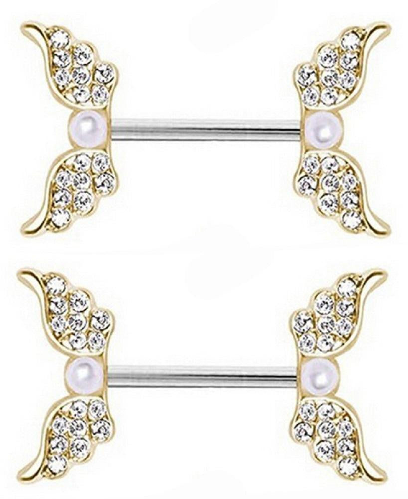 Body Accentz Nipple Ring Angel Wings bar body Jewelry sold as Pair 14g Faux Pearl