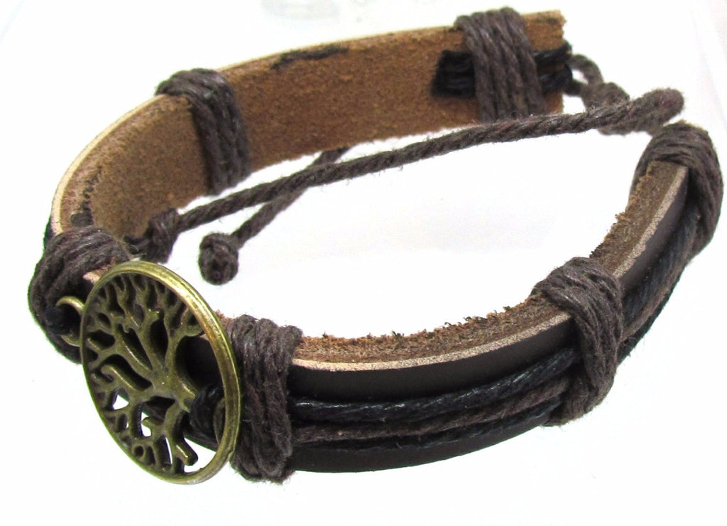 Adjustable Mens Womens Leather Bracelet, Vintage Leaves Life Tree Charm Bangle, Brown