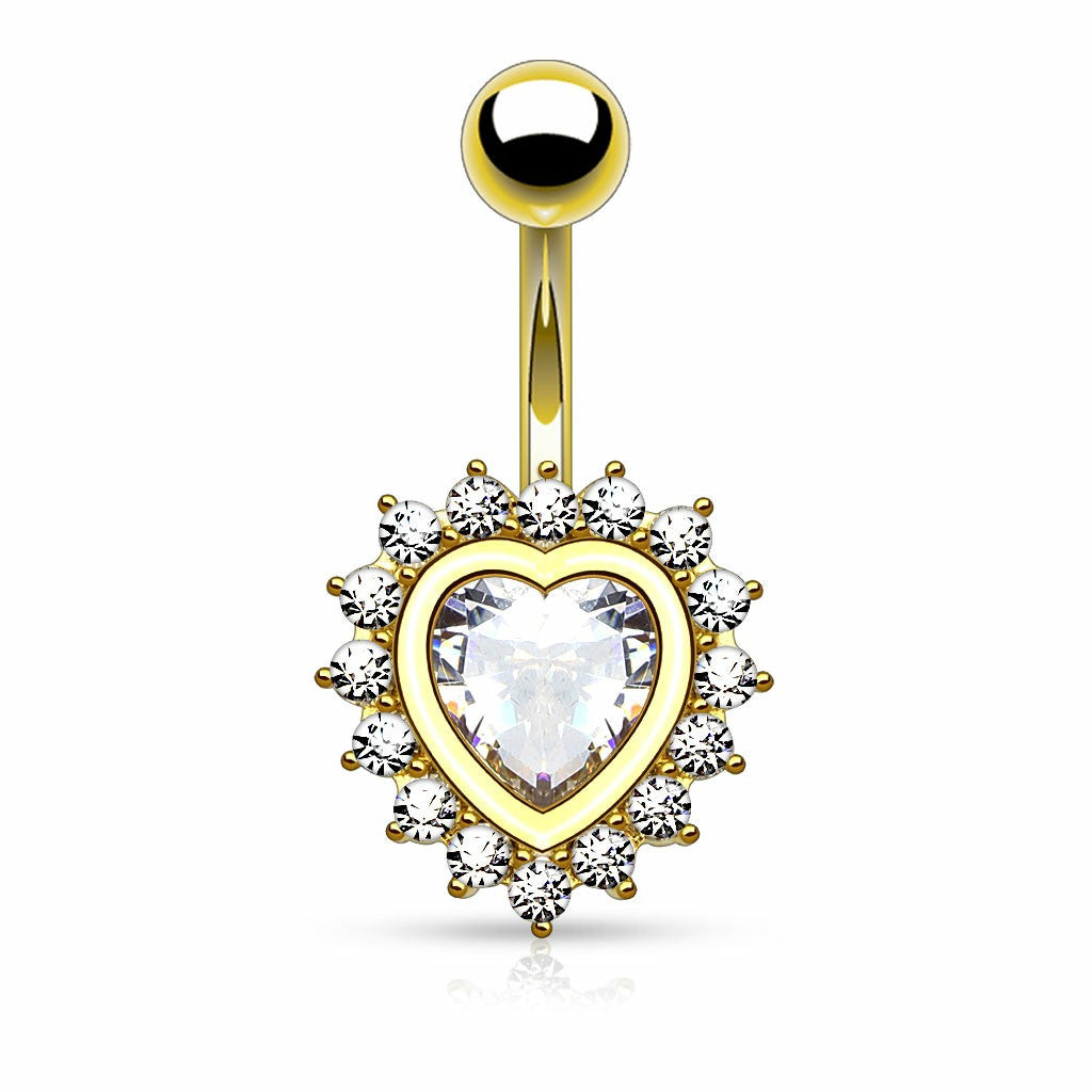 Belly Button Ring Navel Heart Shape Paved CZ Around Large Heart CZ  Plated