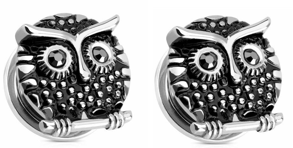 Earrings Rings Owl with Gemmed  316L Surgical Steel Screw Fit Plug 5/8""