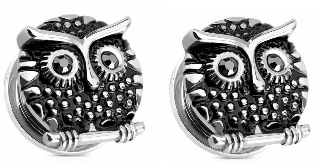 Earrings Rings Owl with Gemmed  316L Surgical Steel Screw Fit Plug 13/16