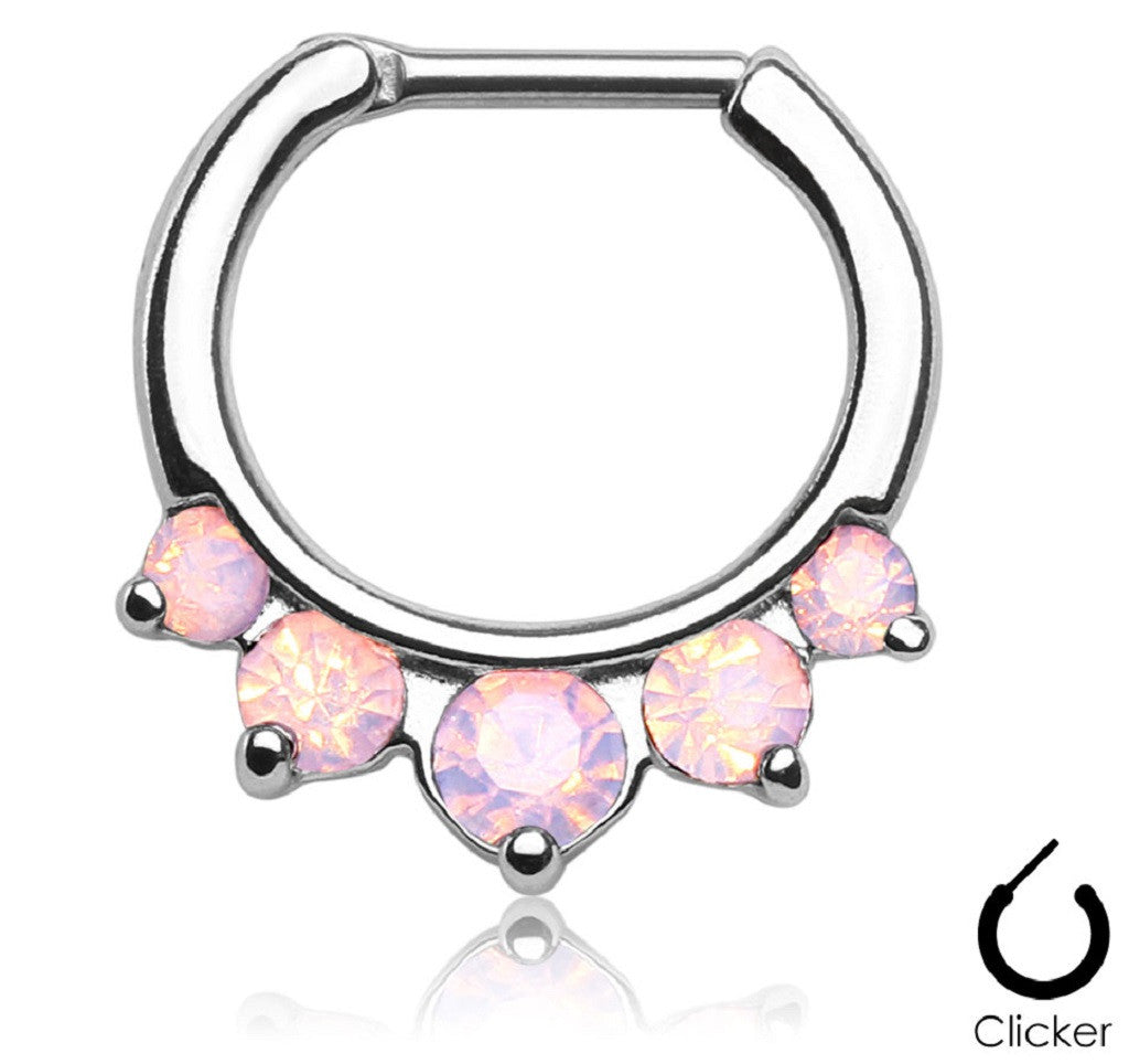 Five Pronged Opalites 316L Surgical Steel Septum Clicker Ring [Jewelry]