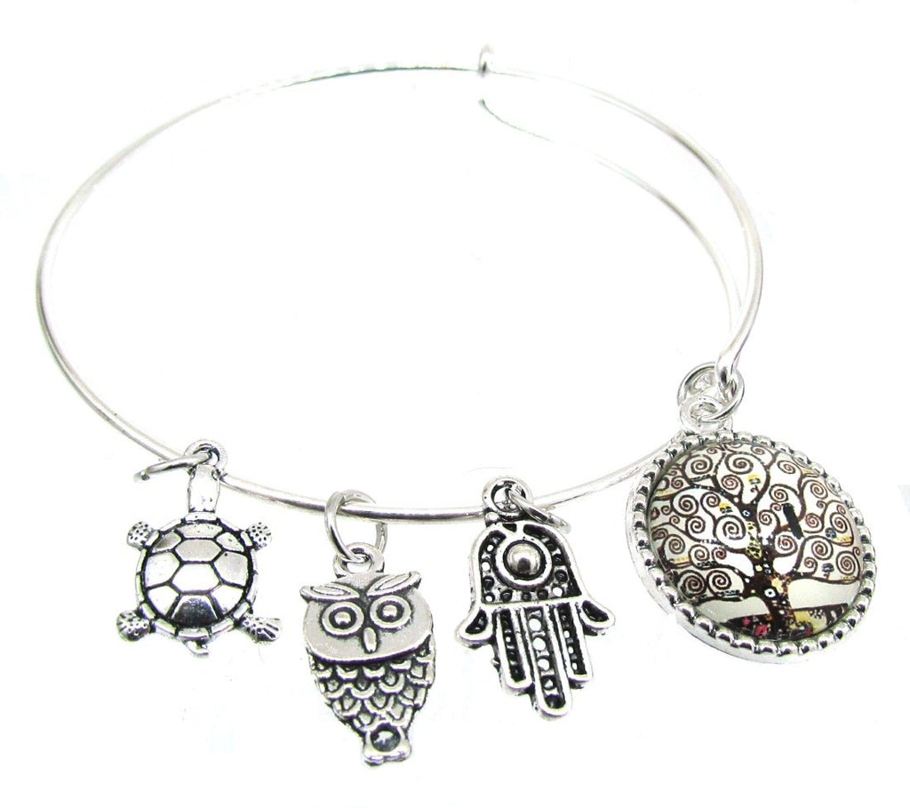 Tree of Life Bracelet - Silver Plate Expandable Bangle Love Family  Owl Hamsa Turtle