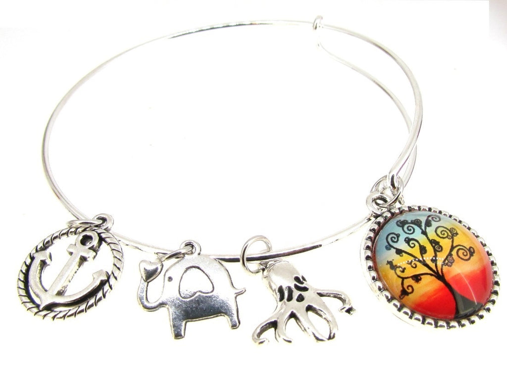 Tree of Life Bracelet Silver Plate Expandable Bangle Elephant Anchor octopus
