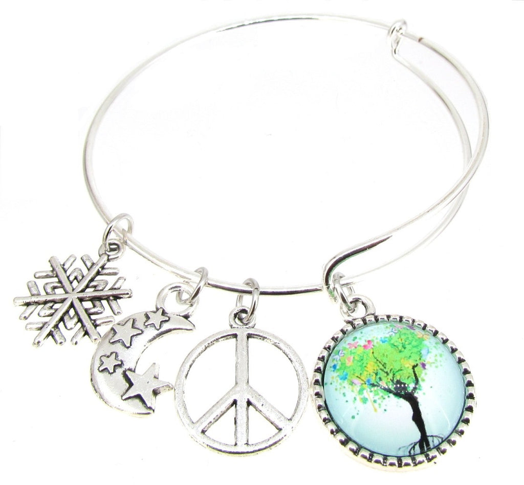 Tree of Life Bracelet Silver Plate Expandable Bangle Moon stars Peace sign  Snowflake