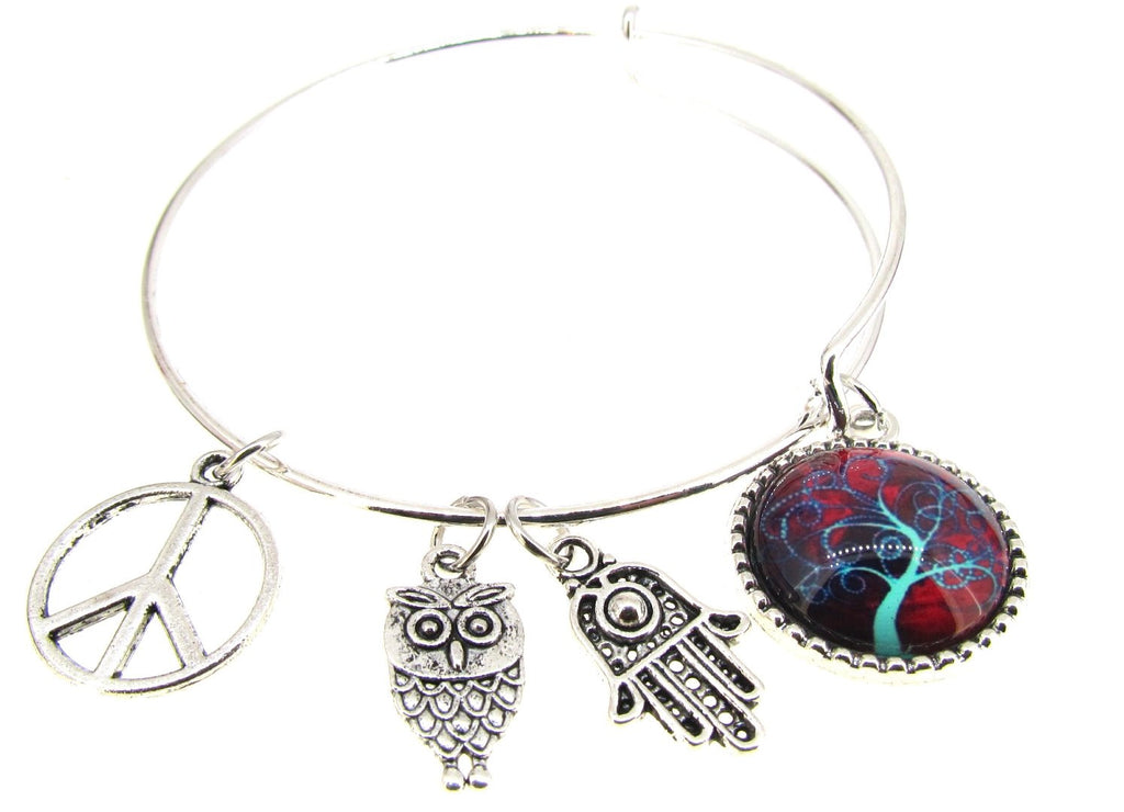 Tree of Life Bracelet Silver Plate Expandable Bangle Hamsa Peace sign Owl