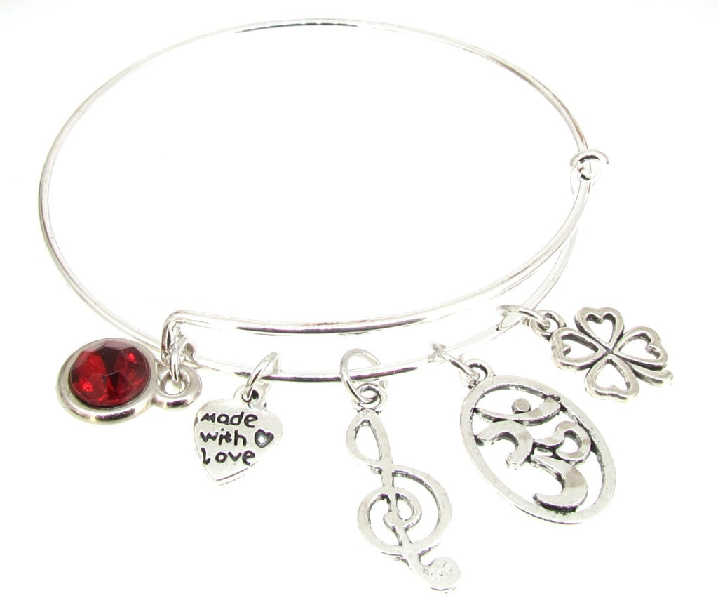 Four leaf clover Bracelet Silver Plate Expandable Bangle  Music Note G Clef