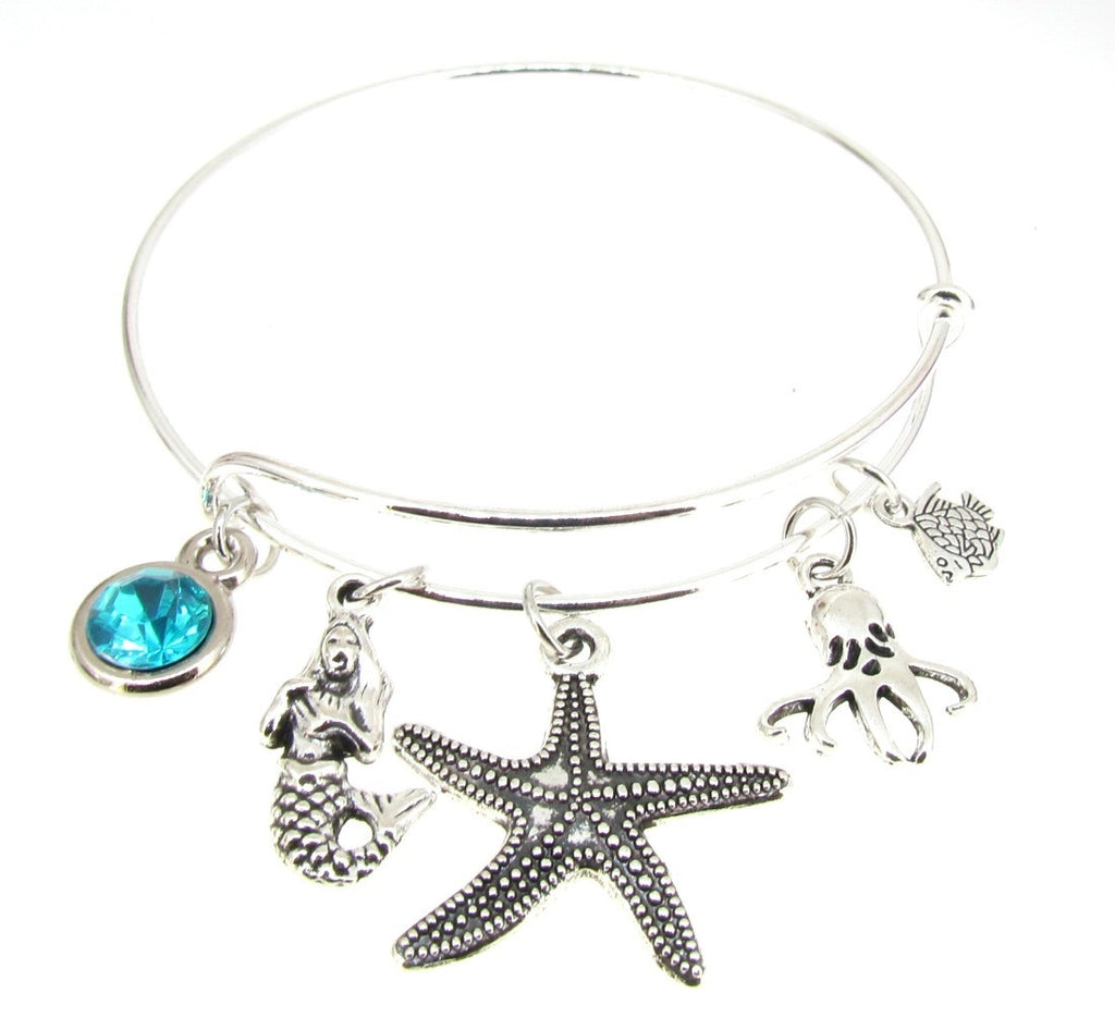 Mermaid Bracelet Silver Plate Expandable Bangle  Octopus  Starfish Fish