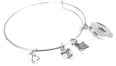 Snap Charm Bracelet Silver Plate Expandable Bangle American Flag