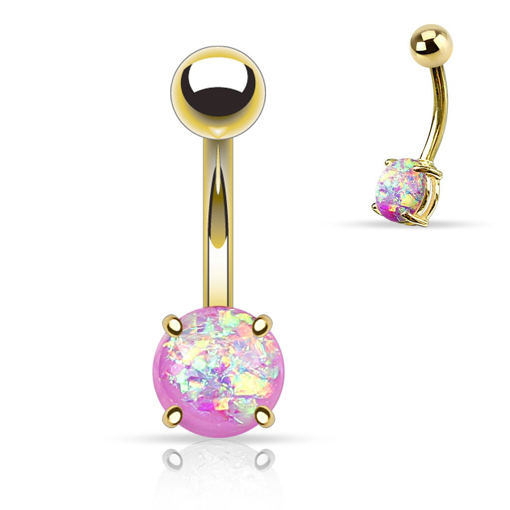 Belly Button Ring Navel Lab Opal Glitter Prong Gold IP 316L Surgical Steel