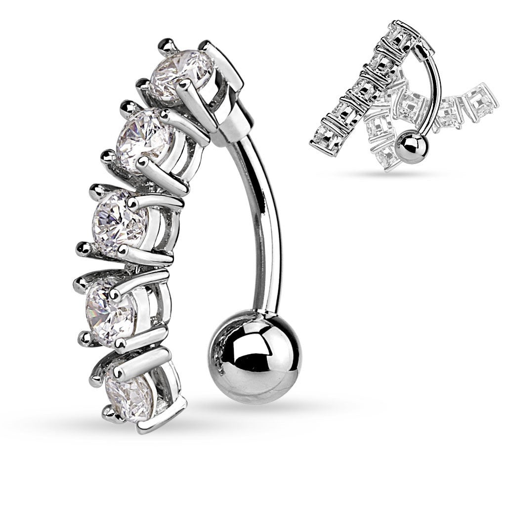 Belly Button Ring Navel 5 CZ Vertical Drop 316L Surgical Steel Rings