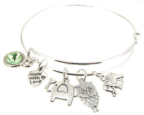 Bracelet Silver Plate Expandable Bangle Elephants Faux Peridot Owl Heart