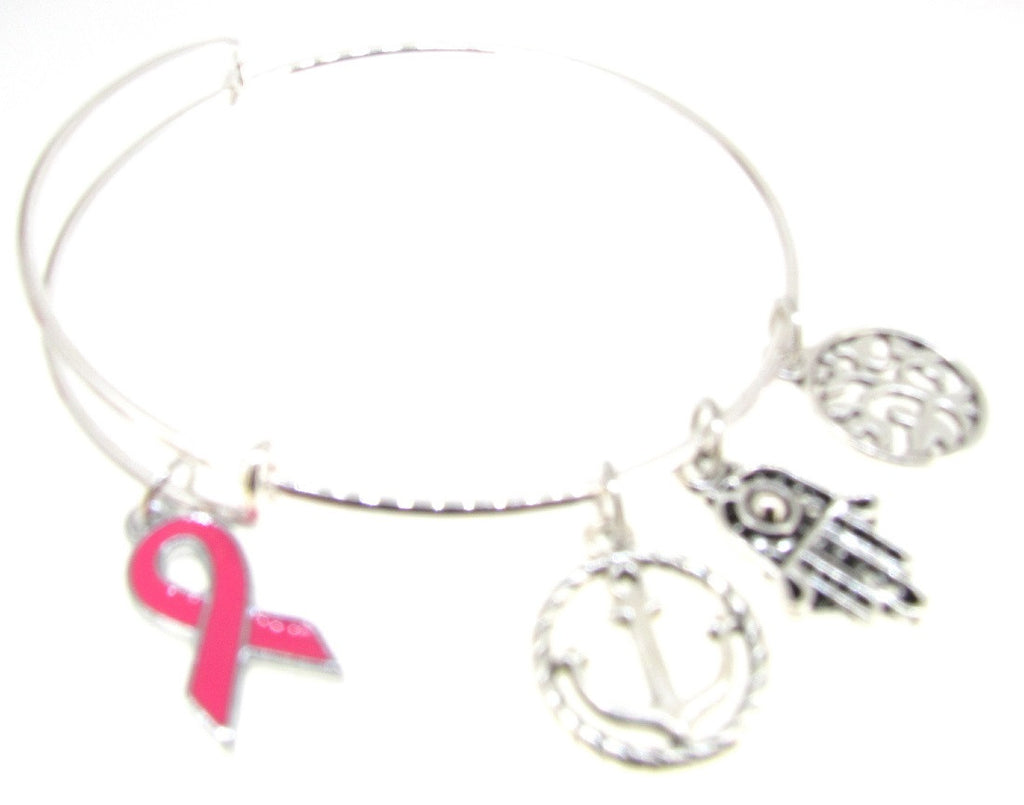 Breast Cancer Ribbon Bracelet Silver Plate Expandable Bangle Tree of Life  Hamsa