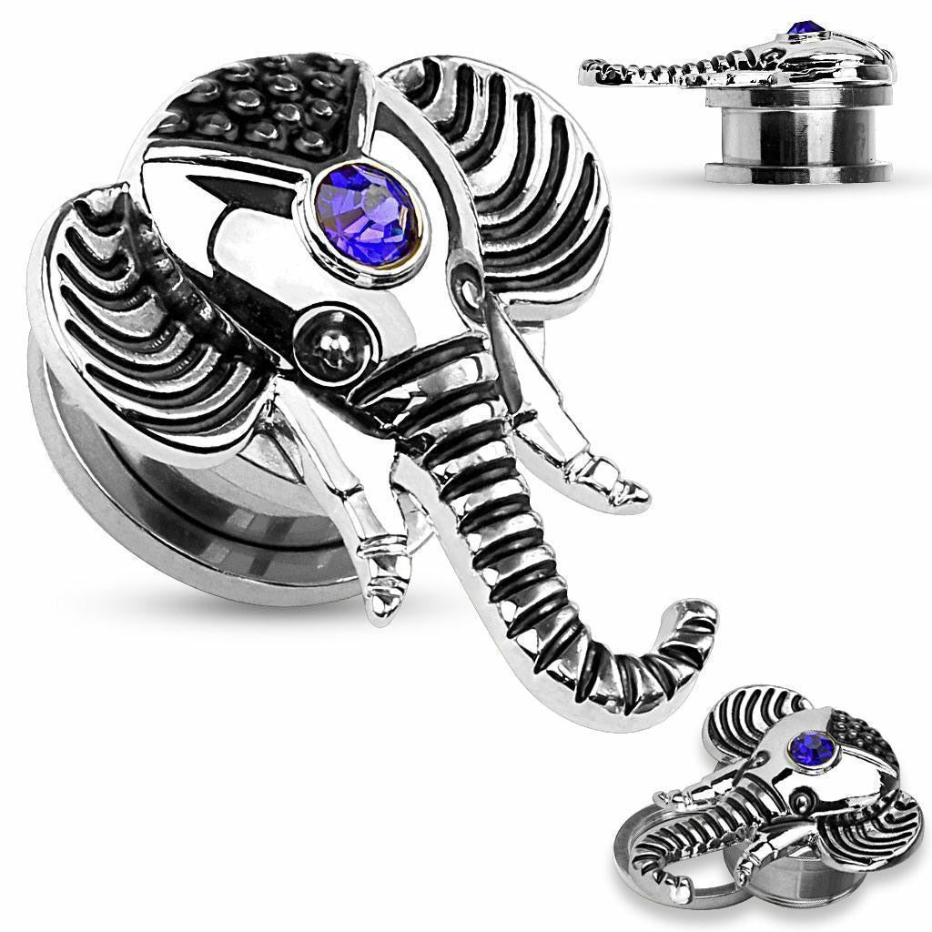 Earrings Rings Faux Sapphire Blue CZ Set Elephant Top Screw Fit Plug Tunnel 9/16''