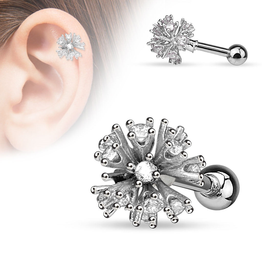 Tragus Barbell Multi CZ Set Ball 316L Surgical Steel Cartilage/Tragus Barbell 16g