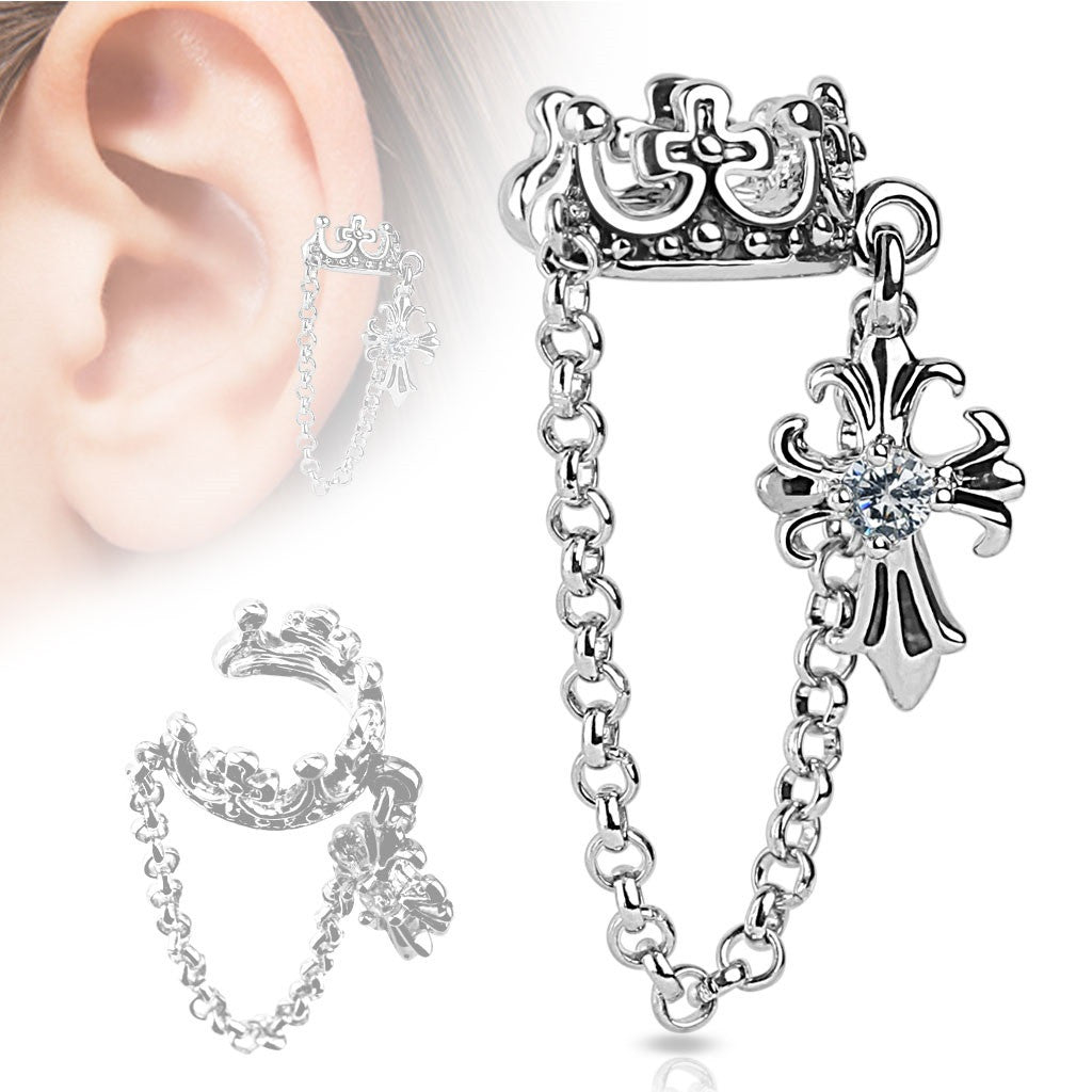 Earring Double chain linked ear cuff Crown  Chain Clear CZ Set Cross Dangle Non-Piercing