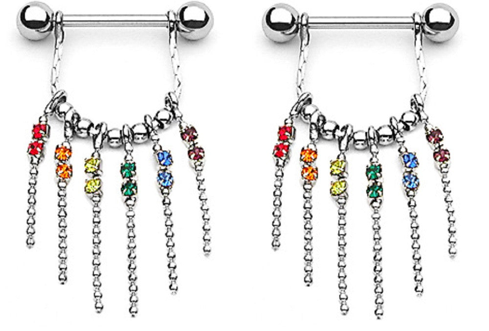 Nipple Bar ERainbow Gems with Chain Dangle Nipple Shield Sold as pair