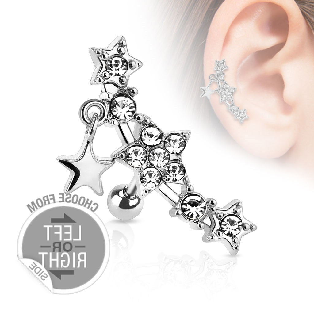 Tragus Barbell Stars Star Dangle 316L Surgical Steel Cartilage  16g right