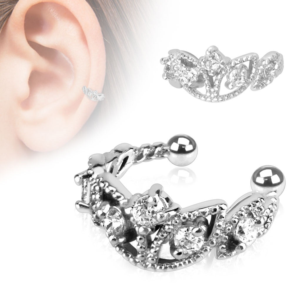 Earring Beads Trimmed Clear CZ Rhodium Plated Brass Non-Piercing Ear Cuff