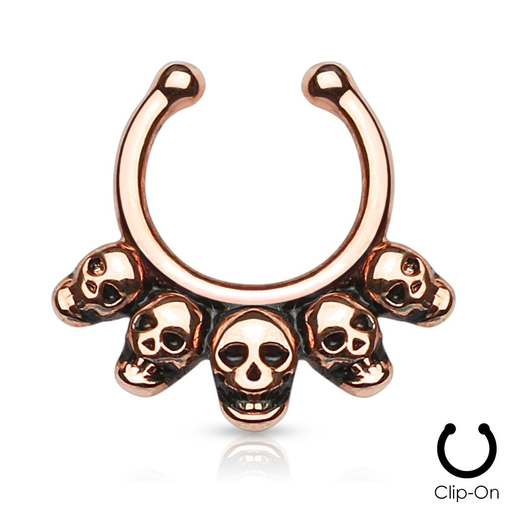 Five Linked Skulls Non-Piercing Septum Hanger