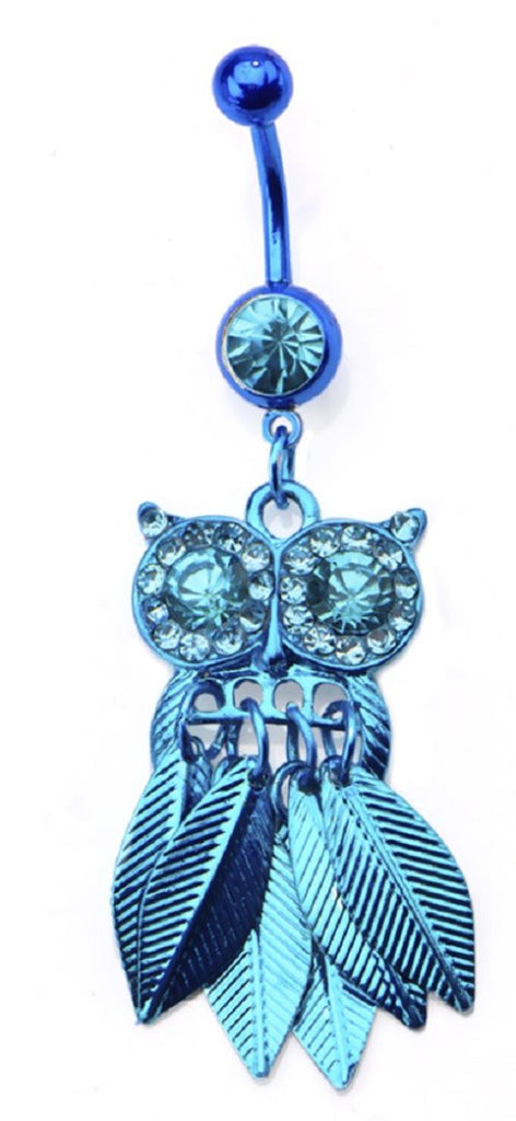 Belly Button Ring 14g 3/8 Navel with Color Plating Owl Dangle Charm