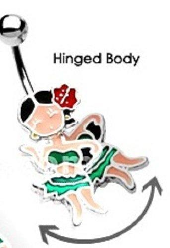 Belly Button Ring Navel Hula Dancer Body Jewelry Dangle 14g 3/8