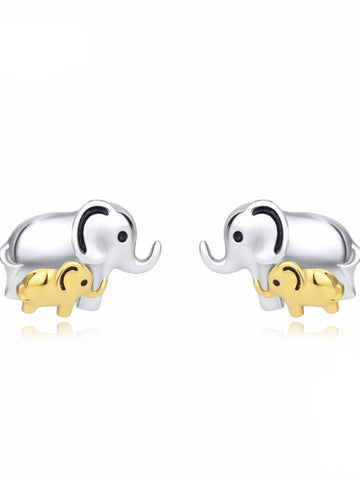 100% 925 Sterling Silver Earring Lucky Elephant Mother & Child Stud Earrings Jewelry Women