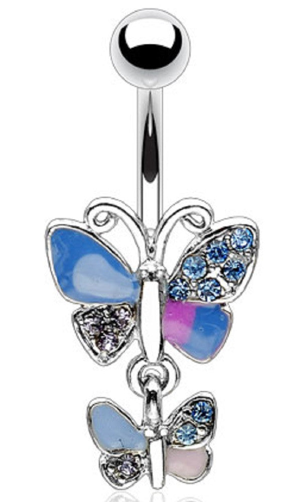 Body Accentz? Belly Button Ring Navel Double Butterfly Body Jewelry Dangle 14 Gauge