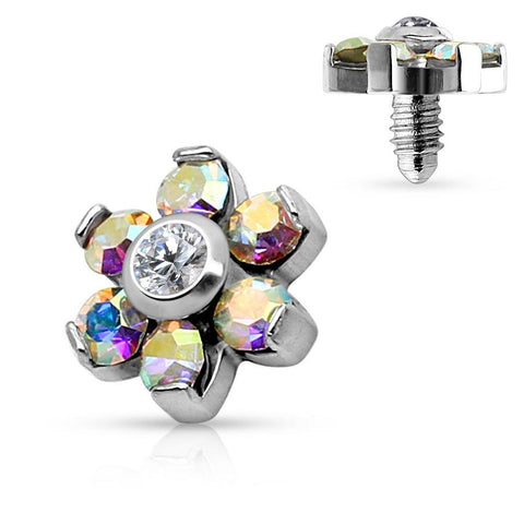 Dermal Anchor Top Prong Crystal Flower 316L Surgical Steel Internally Threaded 4mm top 14g