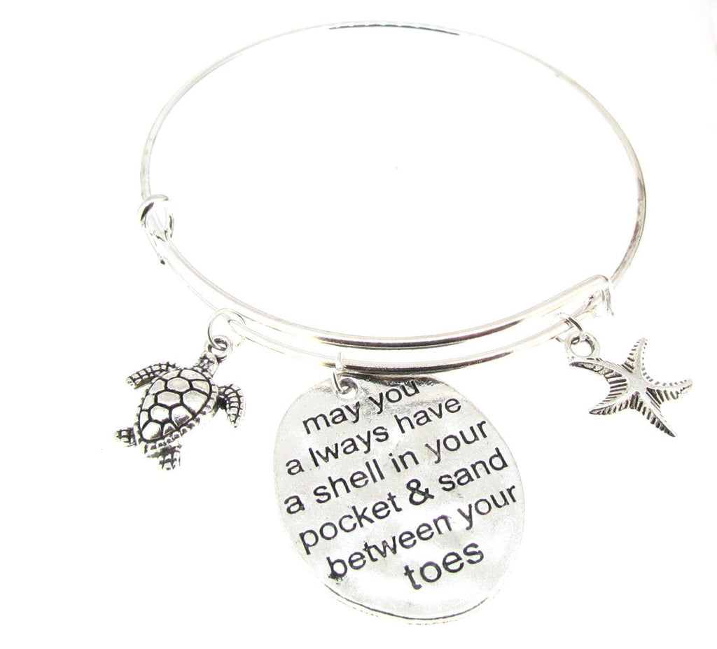 Expandable Bangle Bracelet Inspirational Beach starfish shell turtle Silver Plate