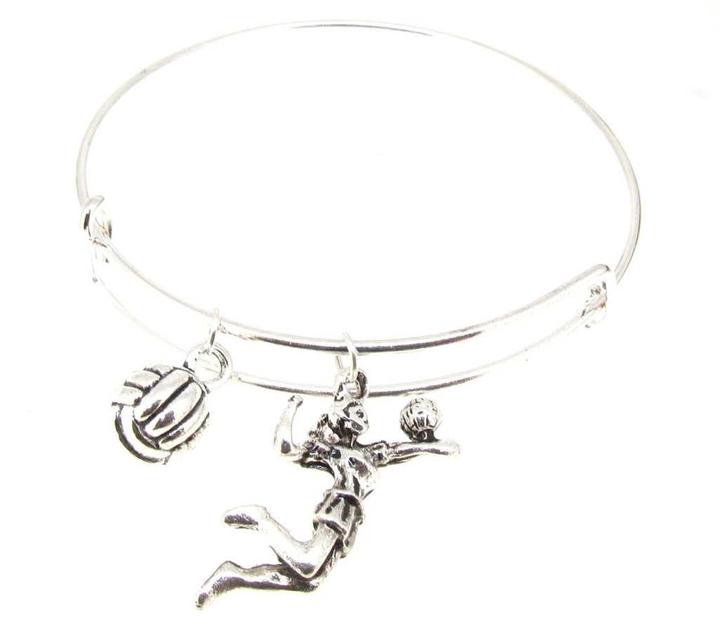 Expandable Bangle Bracelet Volley Ball Silver Plate