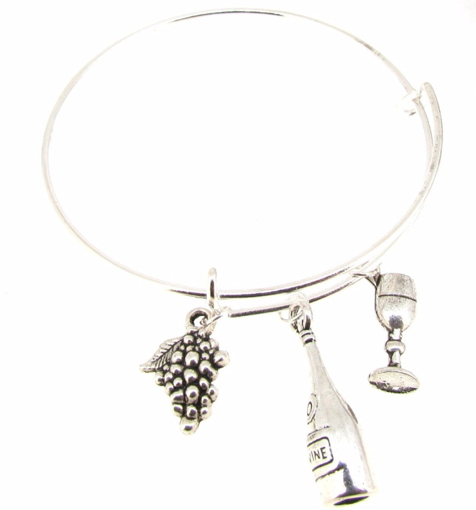 Expandable Bangle Bracelet Wine Bottle Wine Glass Grapes Silver Plate