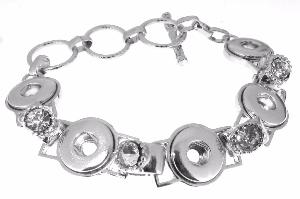 Silver Color Lobster Toggle Clasp Multi Snap Bracelet Fits Snap Buttons