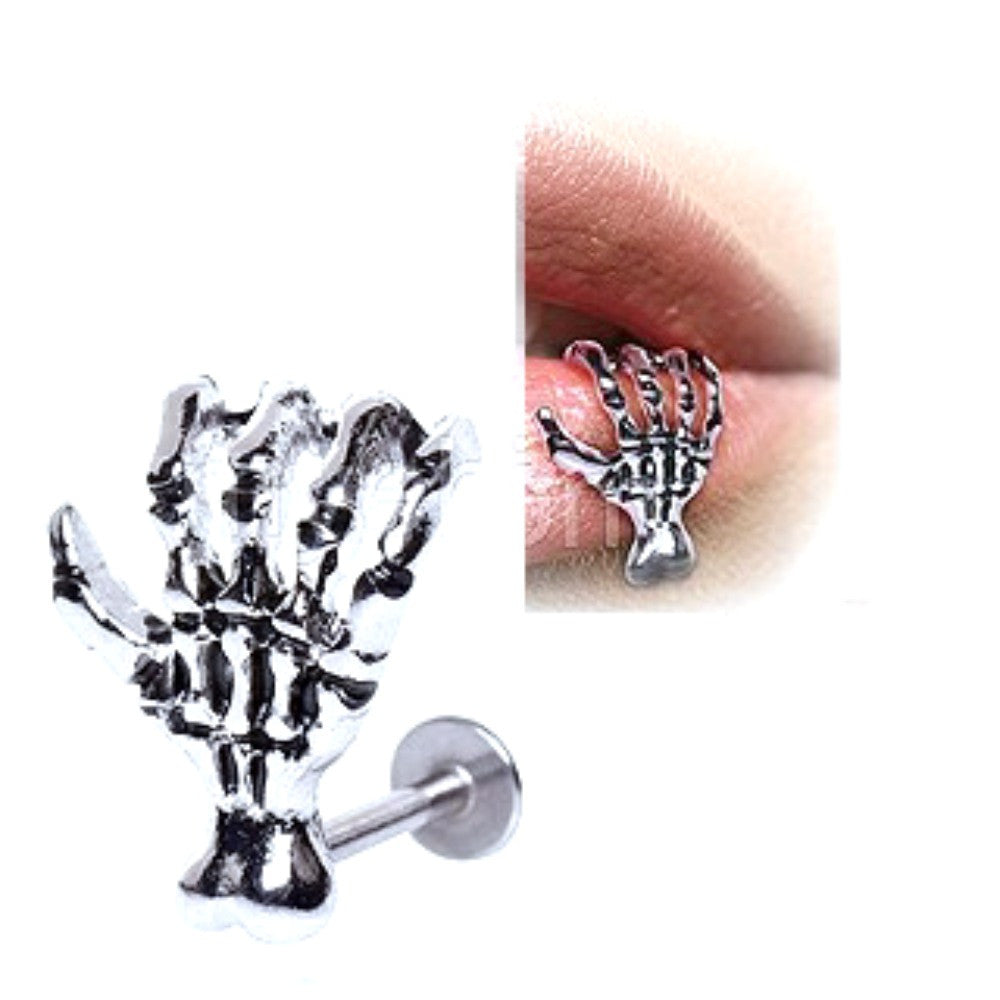 Labret Monroe Anchor 316L Surgical Steel Zombie Skeleton Claw Hand 16g 5/16
