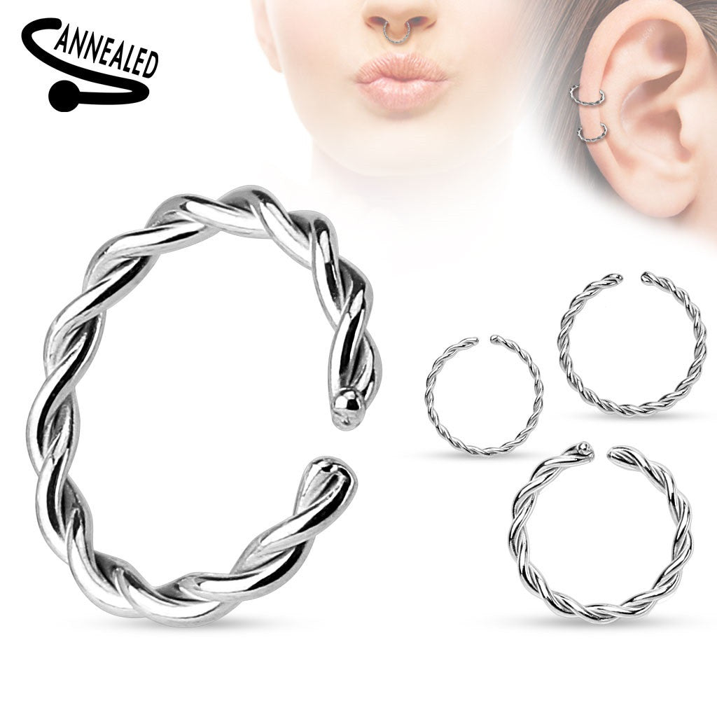 Septum Non Piercing Braided Surgical Steel Annealed Ends Cut Rings Hanger Rar Cuff