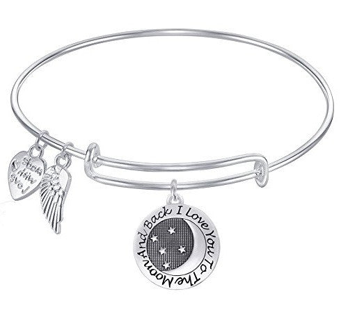 Expandable Bangle Bracelet  Made with Love   I love you to the Moon and back
