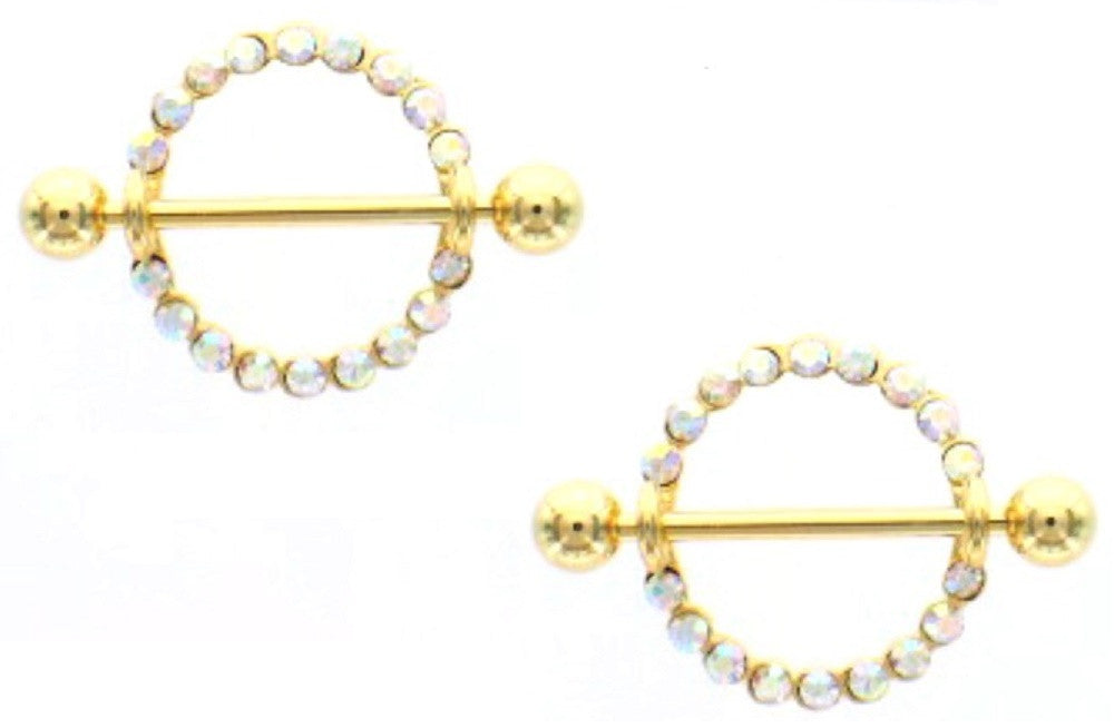Nipple Bar Golden Circle of Love Orbital Nipple Shield Ring Sold as pair