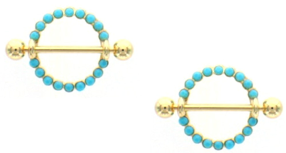 Nipple Bar Golden Circle of Love Turquoise Nipple Shield Ring Sold as pair