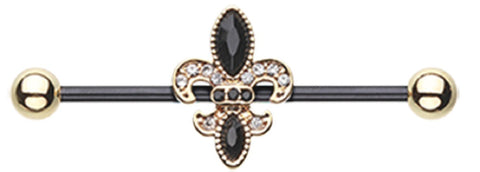 14g Industrial Barbell Golden Black Fleur De Lis Industrial Barbell 1 3/8'' bar