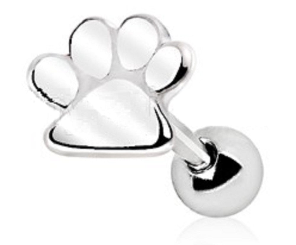 Tragus Piercing 316L Stainless Steel Puppy Paw Print Cartilage Earring Cartilage Tragus 16g 1pc