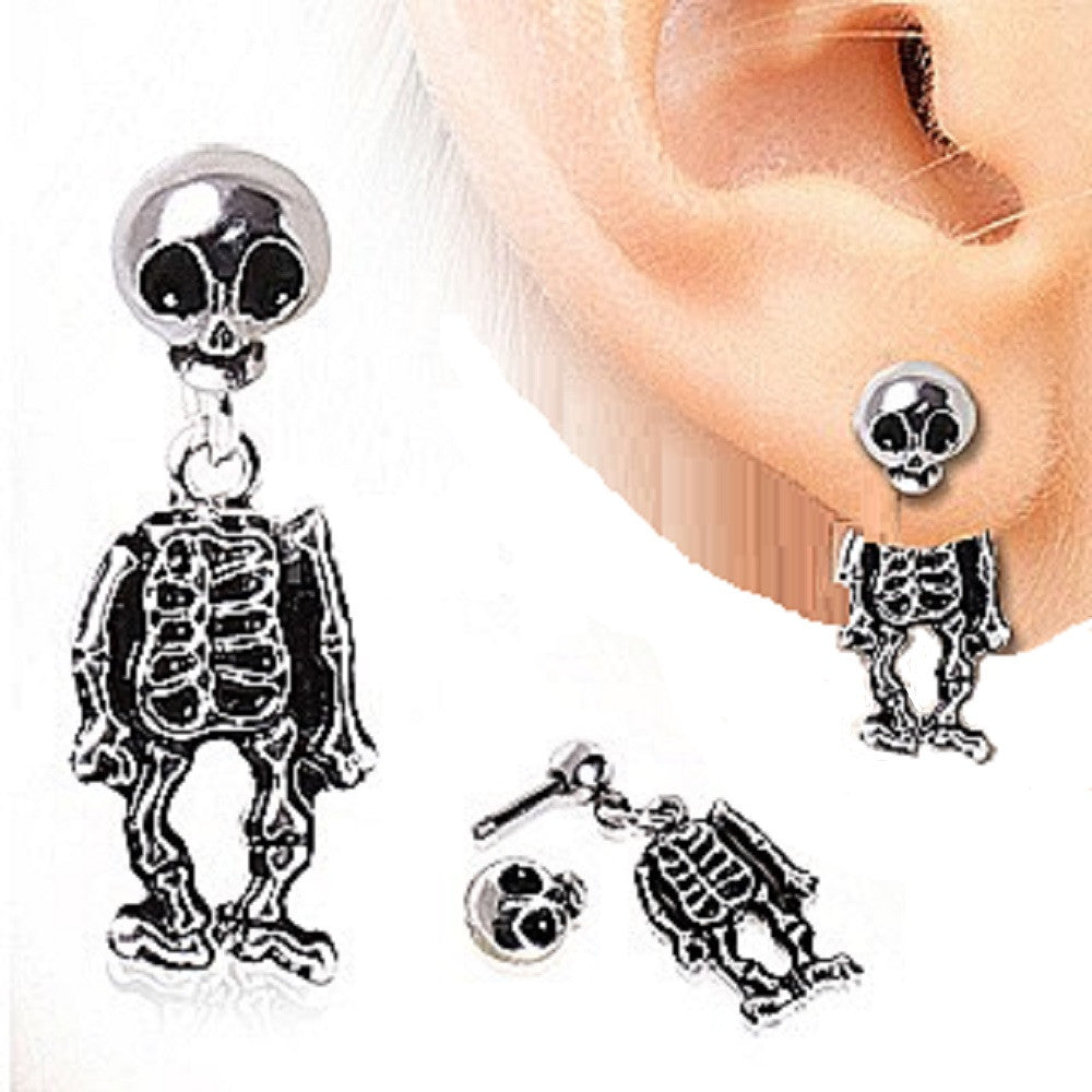 Tragus Piercing 316L Surgical Steel Two-Piece Skeleton Dangle Earring 16g 1pc