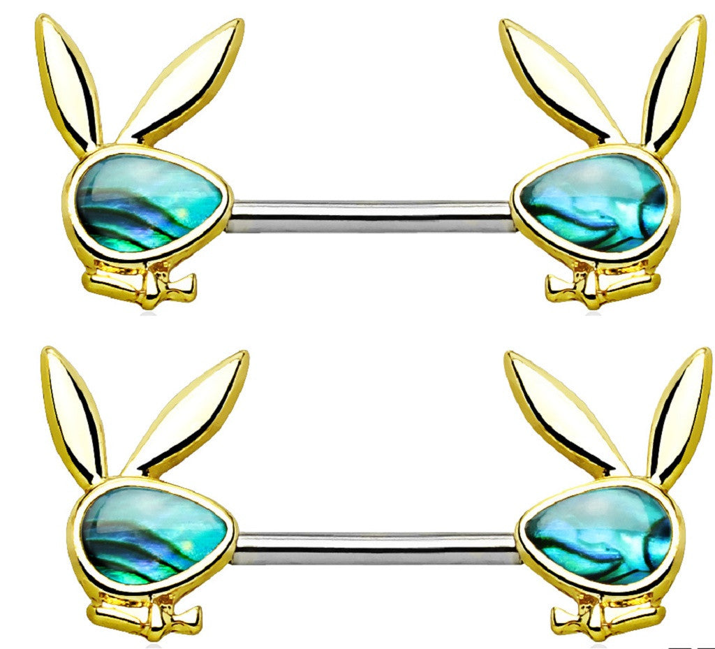 Body Accentz� Abalone Inlaid Face Playboy Bunny 316L Surgical Steel  sold as pair