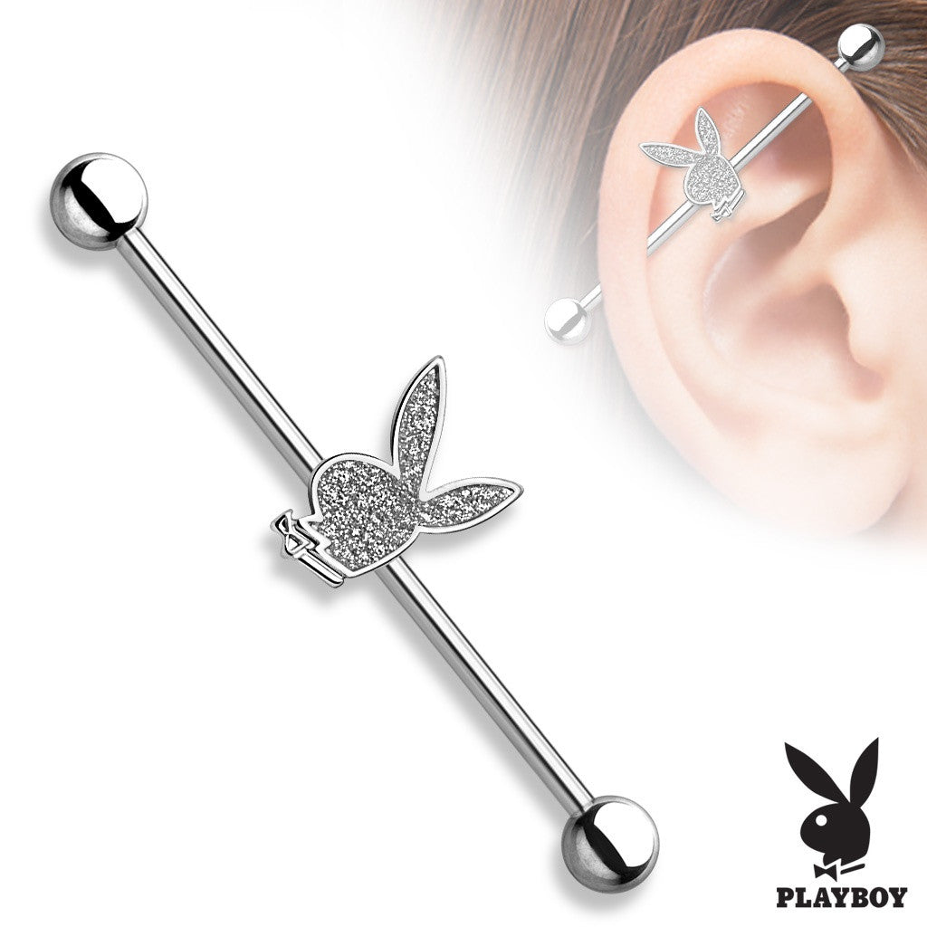 Industrial Barbell Sand Blast Playboy Bunny 316L Surgical Steel 1 1/2