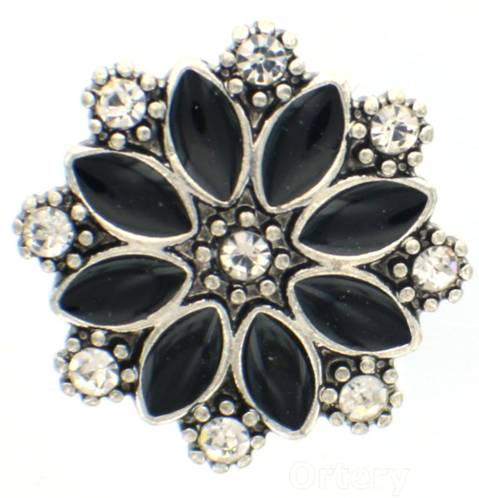 Snap glass flower explosion CZ button charms Interchangable Jewelry