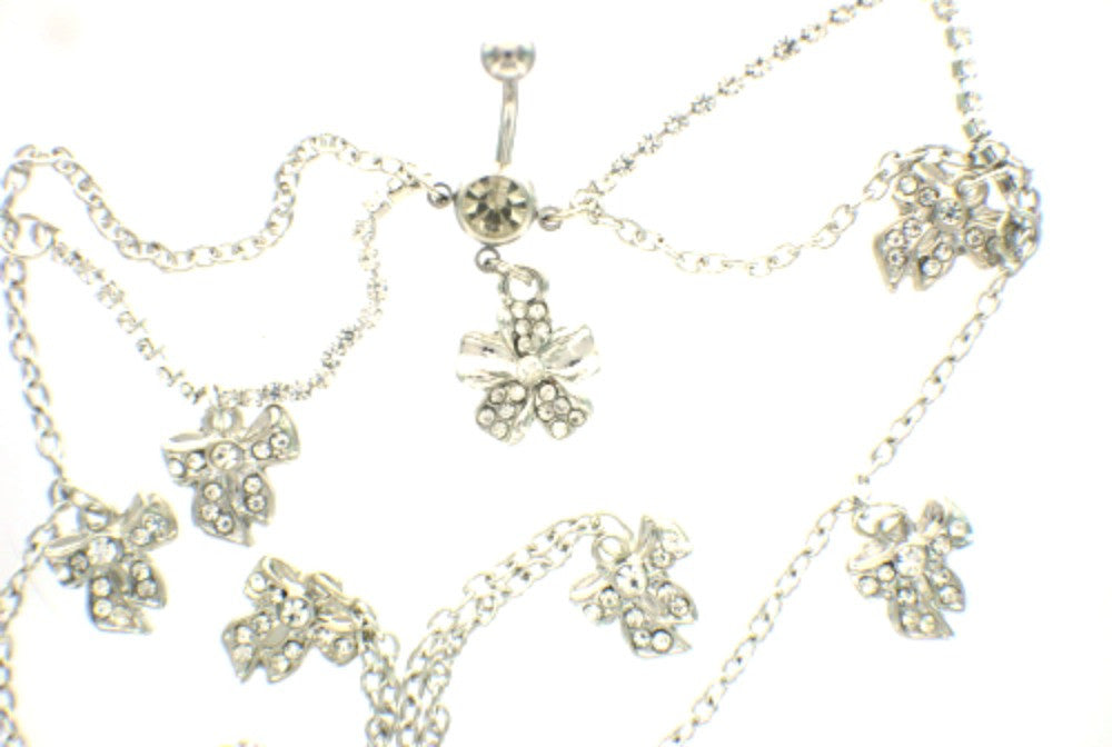 Body Accentz Belly Button Ring Navel Body Jewelry Dangle Waist Chain 14 Gauge Bow